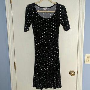 Lularoe Nicole black/white polka dot dress